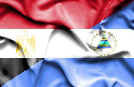 nicaragua: Waving flag of Nicaragua and Egypt