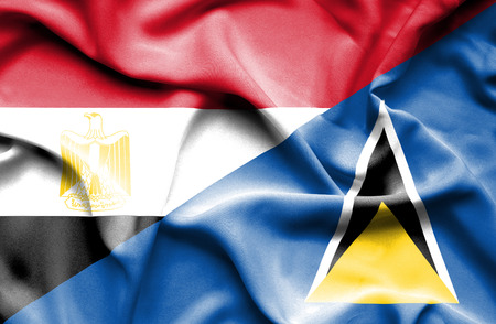 st lucia: Waving flag of St Lucia and Egypt