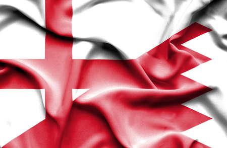 bahrain money: Waving flag of Bahrain and England