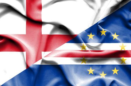 verde: Waving flag of Cape Verde and England