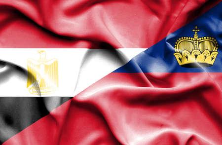 lichtenstein: Waving flag of Lichtenstein and Egypt