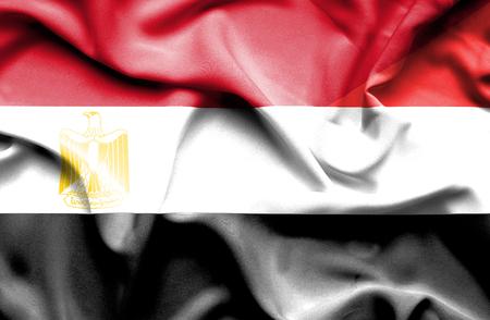 yemen: Waving flag of Yemen and Egypt Stock Photo