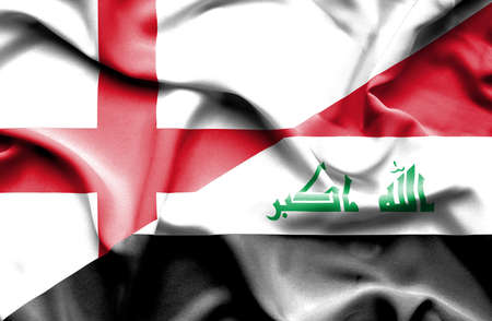 iraq conflict: Waving flag of Iraq and England
