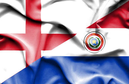 paraguay: Waving flag of Paraguay and England Stock Photo