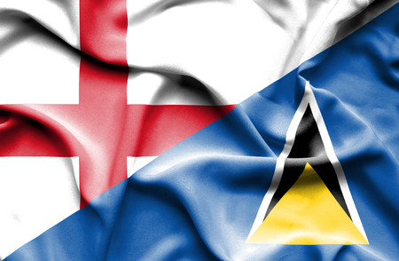 st lucia: Waving flag of St Lucia and England