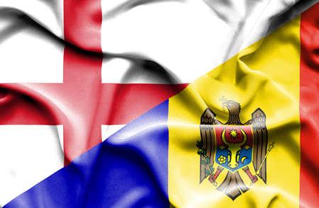 moldavia: Waving flag of Moldavia and England Stock Photo