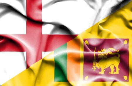 sri: Waving flag of Sri Lanka and England Stock Photo