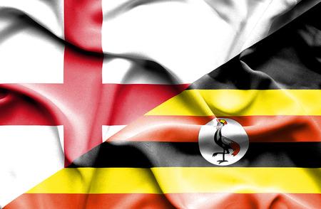 uganda: Waving flag of Uganda and England