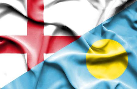 palau: Waving flag of Palau and England