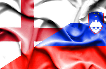 slovenia: Waving flag of Slovenia and England