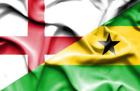 tome: Waving flag of Sao Tome and Principe and England