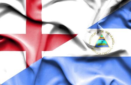 nicaragua: Waving flag of Nicaragua and England Stock Photo