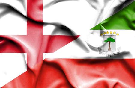 equatorial: Waving flag of Equatorial Giuinea and England