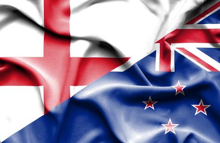 bandera de nueva zelanda: Ondeando la bandera de Nueva Zelanda e Inglaterra Foto de archivo
