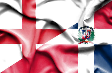 dominican: Waving flag of Dominican Republic and England Stock Photo