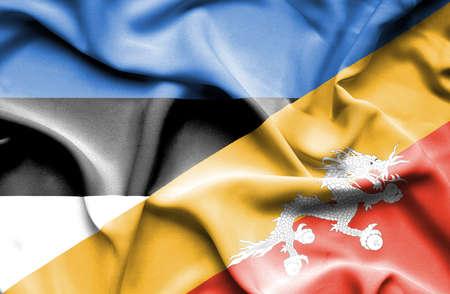bhutan: Waving flag of Bhutan and Estonia Stock Photo