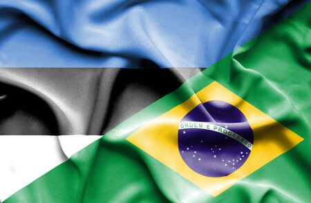 Waving flag of Brazil and Estonia