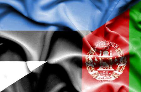 estonia: Waving flag of Afghanistan and Estonia
