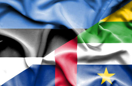 central african republic: Waving flag of Central African Republic and Estonia