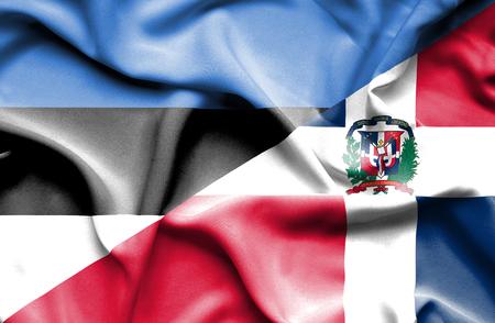 dominican republic: Waving flag of Dominican Republic and Estonia