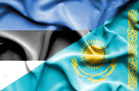 estonia: Waving flag of Kazakhstan and Estonia