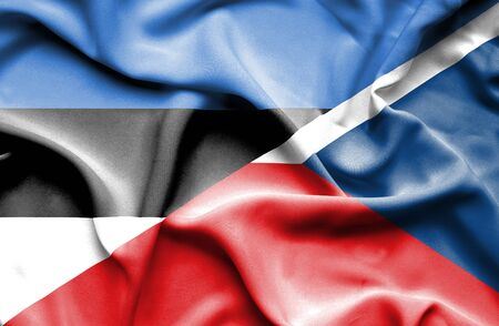 the czech republic: Waving flag of Czech Republic and Estonia