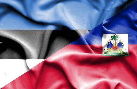 estonia: Waving flag of Haiti and Estonia
