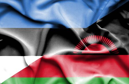 malawian flag: Waving flag of Malawi and Estonia