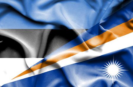 marshall: Waving flag of Marshall Islands and Estonia Stock Photo
