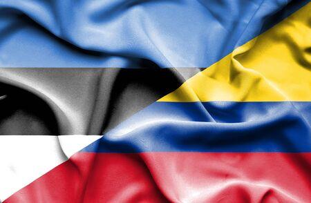 columbia: Waving flag of Columbia and Estonia Stock Photo