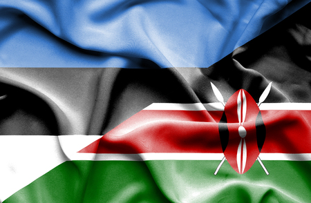 kenya: Waving flag of Kenya and Estonia Stock Photo