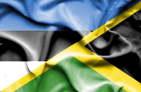 estonia: Waving flag of Jamaica and Estonia