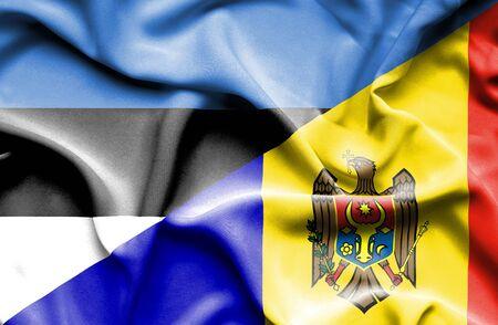 moldavia: Waving flag of Moldavia and Estonia Stock Photo
