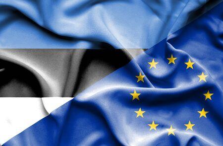 estonia: Waving flag of European Union and Estonia