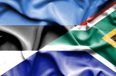 estonia: Waving flag of South Africa and Estonia
