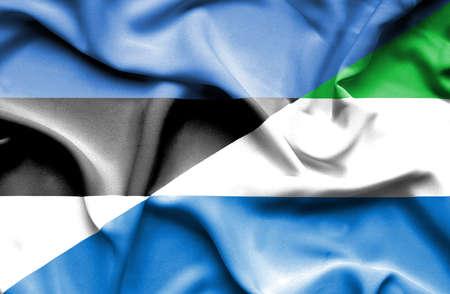 sierra leone: Waving flag of Sierra Leone and Estonia