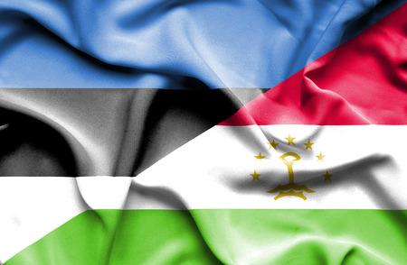 economy of tajikistan: Waving flag of Tajikistan and Estonia