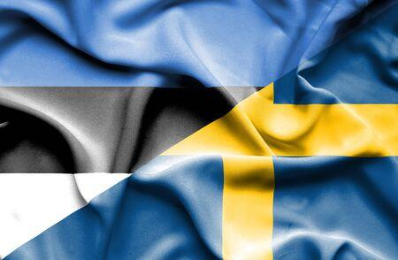 estonia: Waving flag of Sweden and Estonia