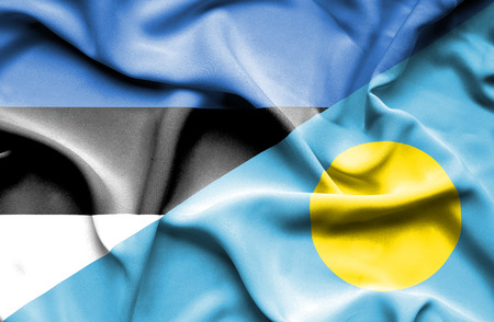 palau: Waving flag of Palau and Estonia