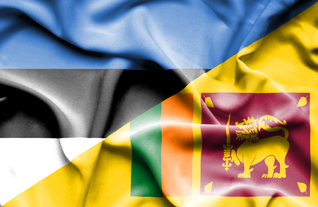 sri lankan flag: Waving flag of Sri Lanka and Estonia