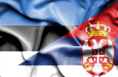 estonia: Waving flag of Serbia and Estonia