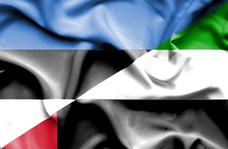 emirates: Waving flag of United Arab Emirates and Estonia Stock Photo