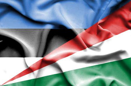 seychelles: Waving flag of Seychelles and Estonia Stock Photo