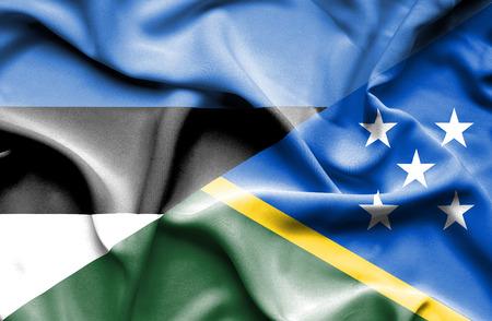 solomon: Waving flag of Solomon Islands and Estonia