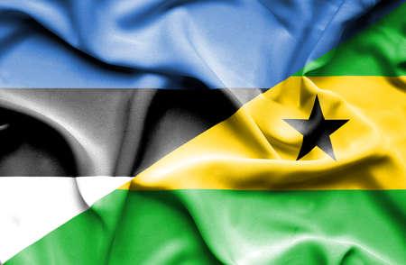 principe: Waving flag of Sao Tome and Principe and Estonia