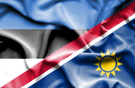 namibia: Waving flag of Namibia and Estonia