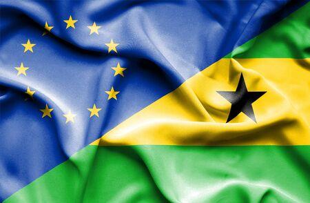 principe: Waving flag of Sao Tome and Principe and