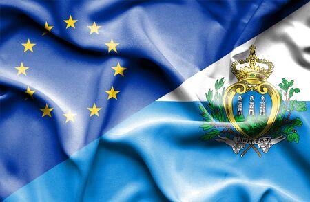 san marino: Waving flag of San Marino and