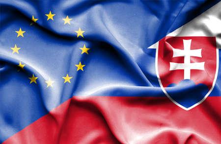 Waving flag of Slovakia and