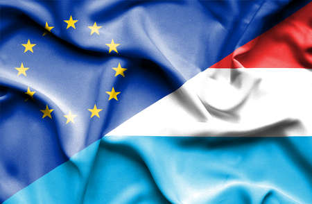 luxembourg: Waving flag of Luxembourg and